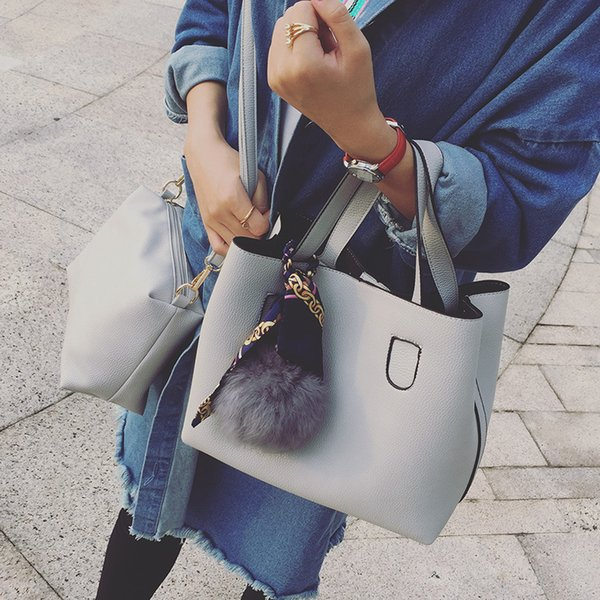 LAN LOU Fashion PU Leather Ladies Handbags Larger Women's Bag Hair Ball Shoulder Bag Messenger Crossbody for Women