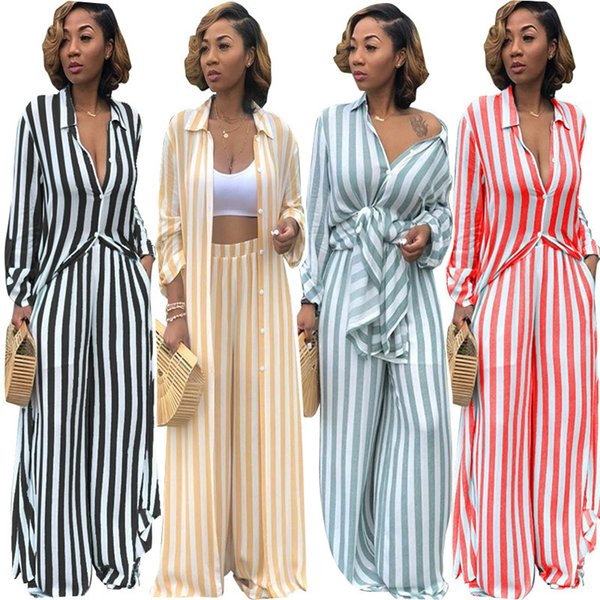TS828 cross-border for new European and American women's casual striped print loose long shirt wide leg pants two-piece