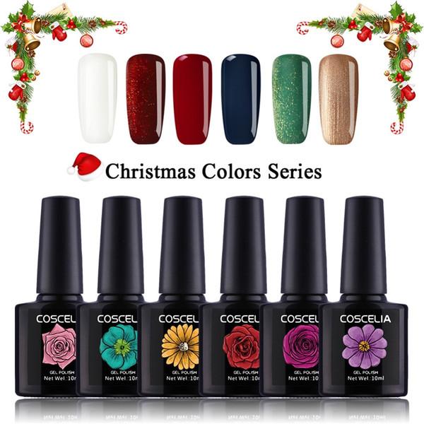COSCELIA 6pcs Christmas Color 10ML Gel Nail Polish 80 Color For Choose 2018 Brand New Gel For Nail Semi Premanent Gel Polish