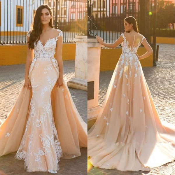 Designer with Overskirt Mermaid Bridal Gown Vintage Lace 2019 Scoop Embroidery Tulle 2 In 1 Wedding Dresses Customize Made