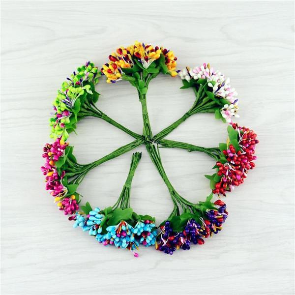 100pcs Mini Bud Berry Stamen Bouquet Artificial flower for wedding Decoration DIY Wreath Gift Box Scrapbooking Craft Fake flower