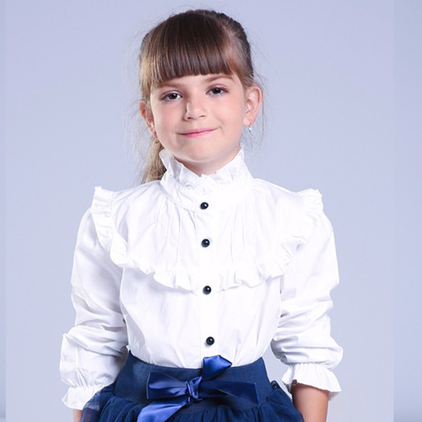 best selling Girl Ruffled Shirt Kids White Clothes Teenager Slim Waist Blouse Fashion Infant Tops School Uniforms Shirts Long-Sleeve Clothing Y200704