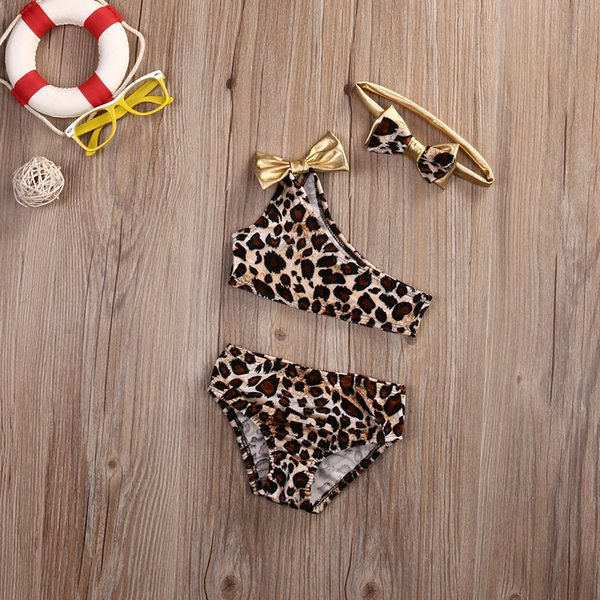 3pcs / set pour enfants Baby Girls Leopard Off-épaule Bow Ensemble bikini maillot de bain Maillot de Bain Vêtements Costume