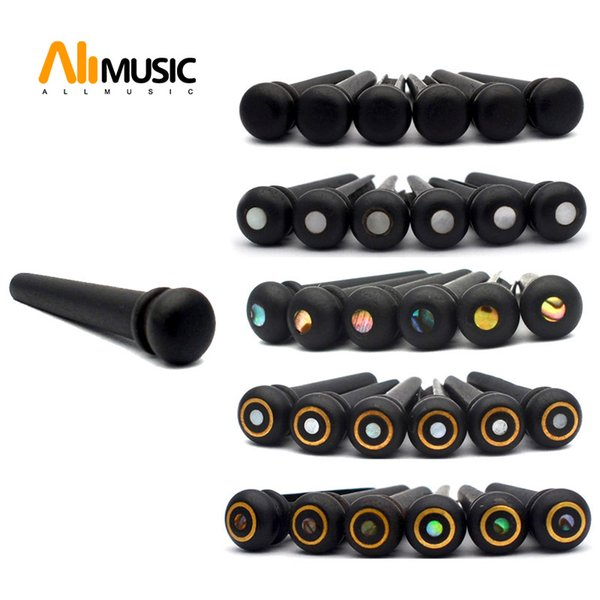 30 pcs Ebony Acoustic Guitar Slotted Bridge Pin Classical Style Guitar Parts Accessories Black