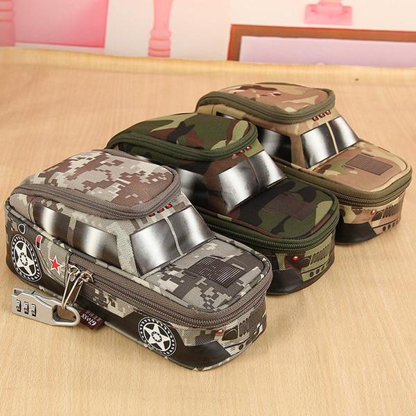 Пенал Автомобиля Ручка Сумка с Кодовым Замком для Мальчиков Двойная Молния Камуфляж Холст Большой Симпатичный Школьный Пенал