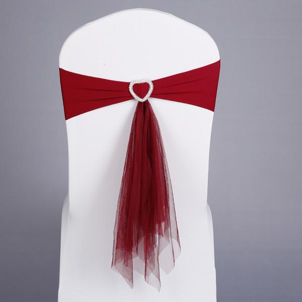 Nuovo 50 pz / lotto Vino Rosso / Bianco / Blu Stretch Lycra Chair Band Cuore Fibbia Con Muslin Telai Per La Cerimonia Nuziale Banchetto Decorazione