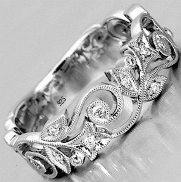 Fashion Jewelry Diamond Flower Cutout Ring Domineering Dragon Ring Engagement Wedding Ring