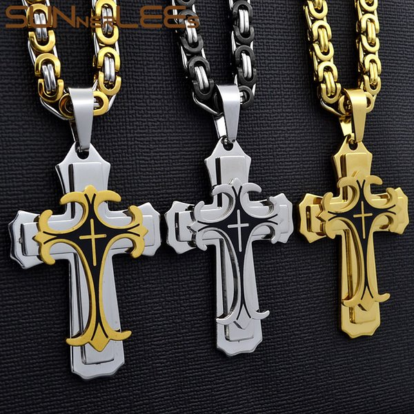 SUNNERLEES Edelstahl Jesus Christus Kreuz Anhänger Halskette Byzantinische Gliederkette Gold Farbe Für Männer SP208