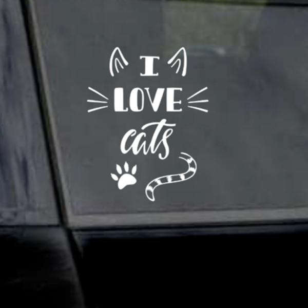 15 * 11,8 cm Ich Liebe Katzen Aufkleber Katzenliebhaber Katze Mutter Katze Vater Vinyl Fenster Auto Laptop Aufkleber Auto Aufkleber