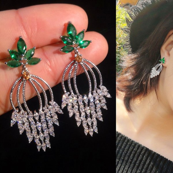 S925 Silver Crystal Leaf Earrings Women Fashion Drop Earings Ring Brand Designer Tassel Ear Studs For Wedding Party