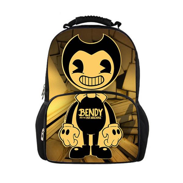 Desenhos animados Bendy and the Machine Ink Capacidade Grande Felt Mochila Bolsa Escola Adolescente Meninos Homens Personalize Grande Viagem Backpack