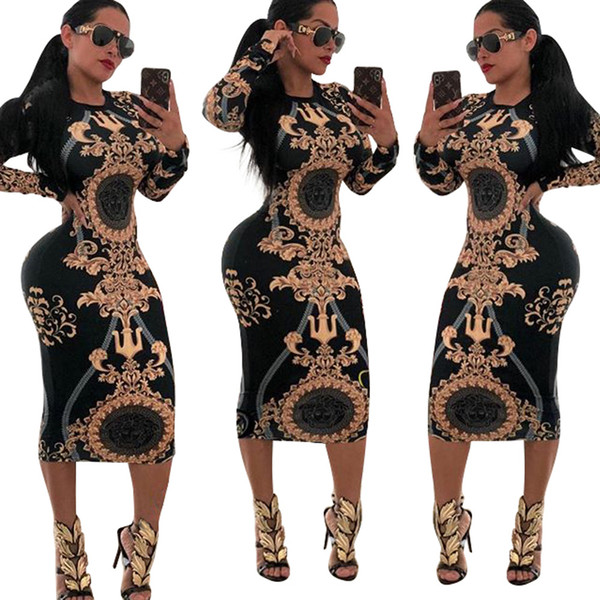 women Casual Dresses Autumn Europe and the United States explosion version of the fashion 15-color print dress
