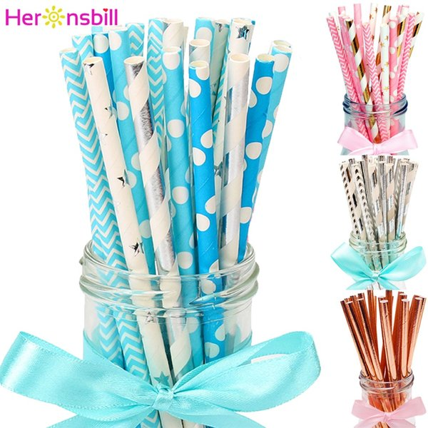Heronsbill 25Pcs Paper Drinking Straws Baby Shower Boy Girl Birthday Wedding Party Decorations Kids Adult Table Supplies Gold
