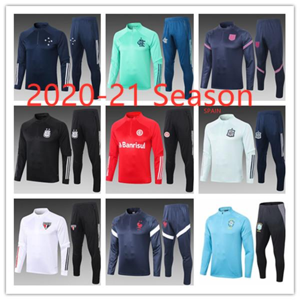 best selling 20-21 NEW Season Brasil Sao Paulo Cruzeiro Men's Maillot de Foot Tracksuit Adult Tracksuits Survetement Jogging Training Suit Kits Equipe