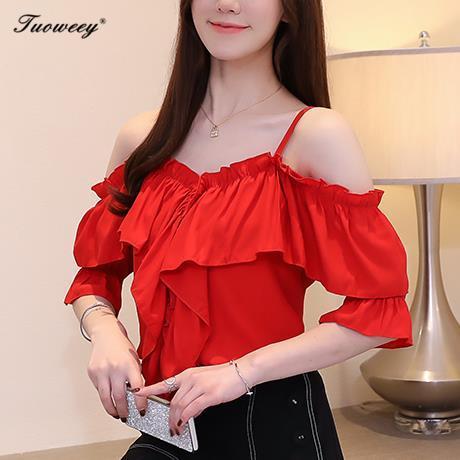reizvolle Chiffon- Hemdfrauenart und weiseaufflackernhülse der festen roten Rüsche weg von der Schulter trägerlosen offenen Erntespitzenverpackungs-Blusenfrau