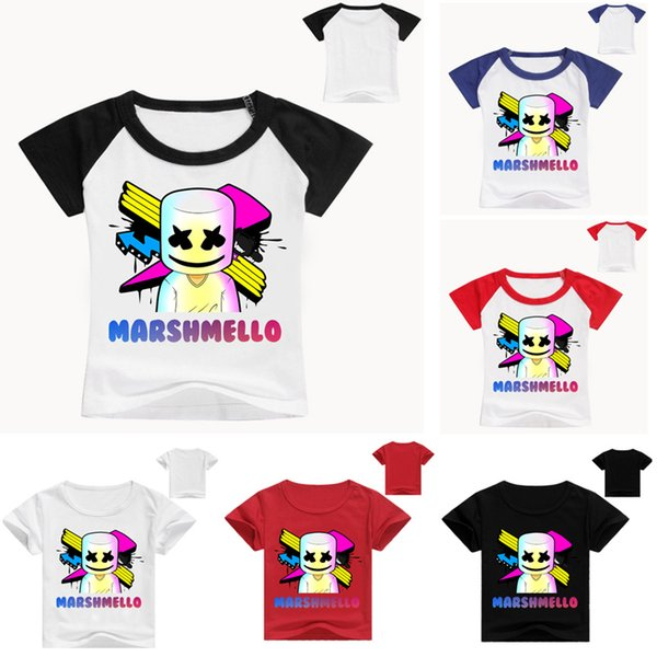 3D Print DJ Marshmello kids Cotton Short sleeve Fashion Summer top Casual O-Neck T shirt For boy girls LE217