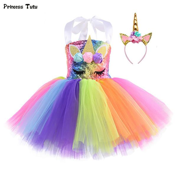 Arc-en-Paillettes Unicorn Robe Tutu pour les filles de fête d'anniversaire vêtements Set enfants Halloween Carnaval Cosplay Unicorn Costume Outfit CJ191209