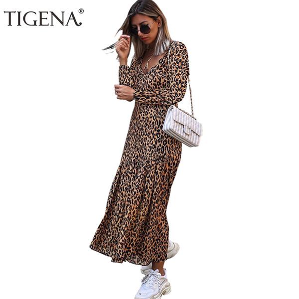 TIGENA Casual V-ausschnitt Leopard Langes Kleid Frauen 2019 Frühling Sommer Langarm Maxi Kleid Für Frauen Lose Zurück Reißverschluss dame