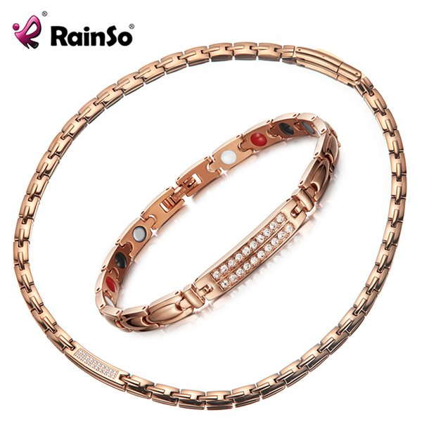 wholesale Luxury CNC Zirconia Jewelry Set Crystal Inlay Necklaces Bracelets Rose Gold Color Never Fade Magnetic Hologram Jewellry
