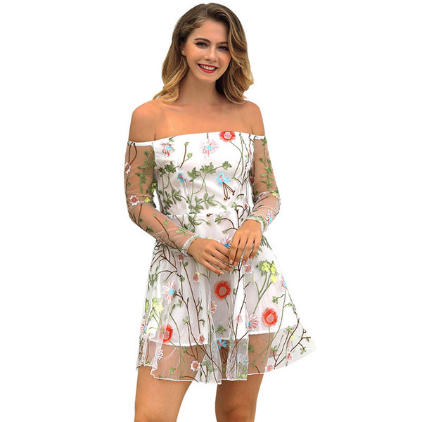 2019 New Suit-dress Sexy Skirt Solid Color Lace Embroidery Dress fashions Woman casual dresses models for women clothing ladies Sale Rushed