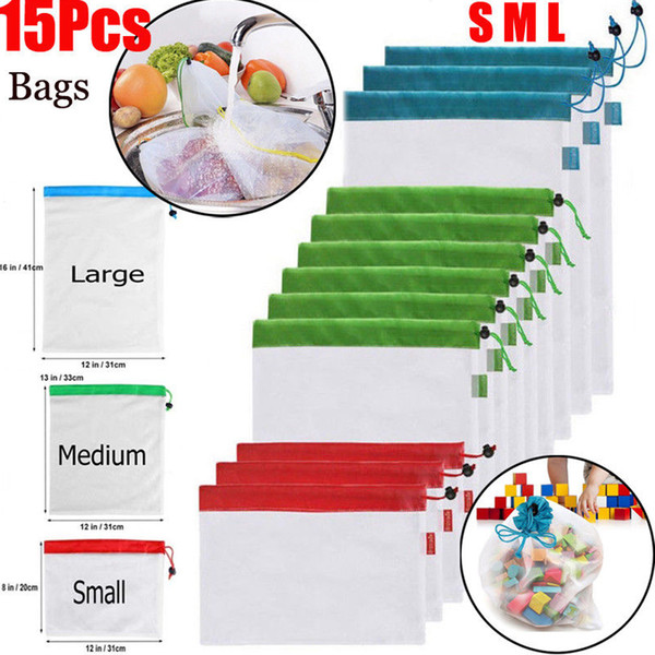 15pcs Reusable Mesh Produce Bags Washable Eco Friendly Bags for Grocery Shopping Storage Toys Fruit Vegetable Organize pouch