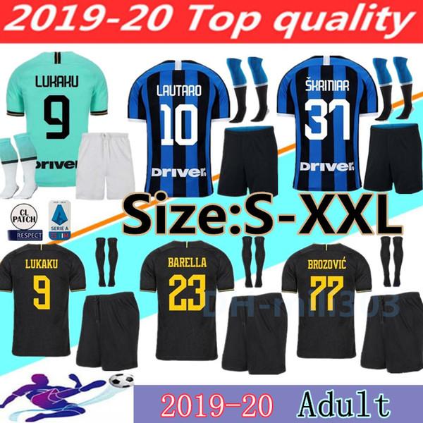 2019 2020 LUKAKU LAUTARO SKRINIAR ev futbol forması kitleri 19 20 yetişkin kiti ALEXIS BARELLA SENSI uzakta ve üçüncü futbol gömlek üniforma S-XXL