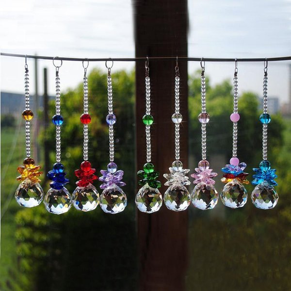 9PCS 40mm K9 Crystal Suncatcher Prisms Pendant Hanging Ball Prism Window Ornament Home Wedding Decoration WQM148