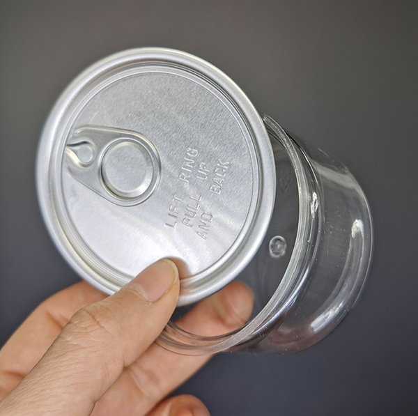 top popular Reusable 3.5g Clear Can Food Grade Flower Packaging Case 100ml dry herb flower PET easy-open end lift ring pull tab Plastic empty cans OEM 2020