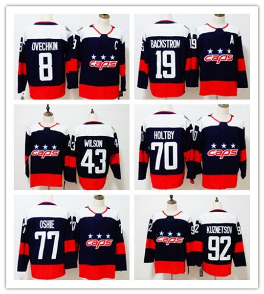 big sale 44361 55311 2019 2018 Stanley Cup Final Champion Washington Capitals 8 Alex Ovechkin  Jersey 43 Tom Wilson 77 T.J. Oshie 70 Braden Holtby Hockey Jerseys From ...