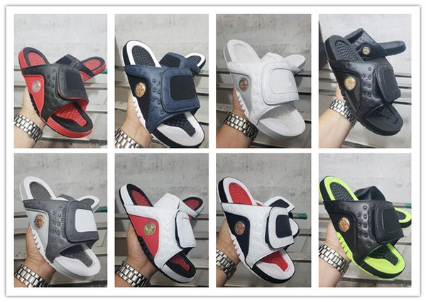 High Quality Hydro 13 Chicago Black Cat Mens Rubber Sandals Cheap Summer Slipper 13s Jumpman Men Sandals with box