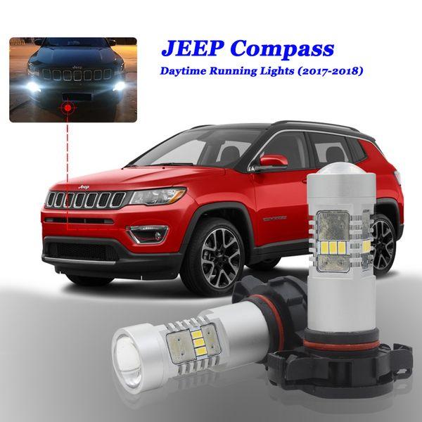 Branco Canbus PSX24W Lâmpadas LED Para Jeep Bússola 2017 2018 LED DRL Luz 5202 H16 PS19W Condução DRL Daytime Running Luz