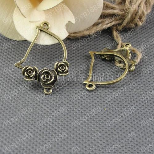 60pcs 37*27MM Antique bronze tibetan floral rose flower charms vintage metal alloy pendants diy necklace bracelet earring jewelry making
