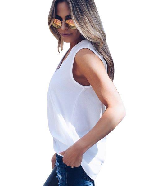 Venta al por mayor de color sólido cuello en V camisetas sin mangas camisas de verano gasa tanque suelto camisetas ropa de mujer blanco negro rojo nave de la gota