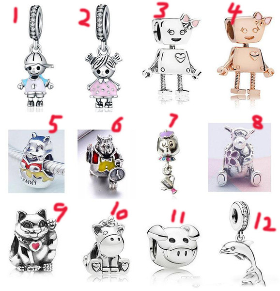 Sterling Silber Armband-Jungen-Mädchen Bella Roboter Teekanne Maus Bär-Korn-Charme für europäische Schlange-Charme-Kette Art und Weise DIY Schmuck
