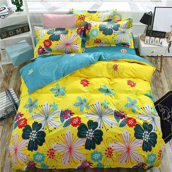 Color Flower 4pcs copertura del letto del capretto del fumetto copertura del duvet del bambino adulto lenzuola e federe per cuscini biancheria da letto consolatore set 2TJ-61004