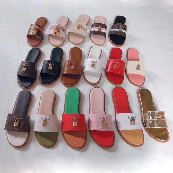 sandalia de diseñador de mujer bloquearlo mula plana zapatillas de lujo Diapositivas de diseñador de cuero genuino Chanclas planas de verano de gran tamaño EE. UU. 4-11 con caja