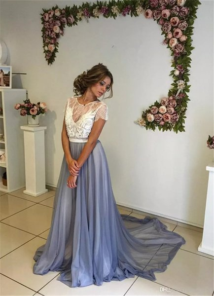 Dusty Blue Prom Dresses robe de soiree 2019 A Line Scoop Neck Short Sleeve Chiffon Formal Evening Gowns Cheap Sweet 16 Party Dress