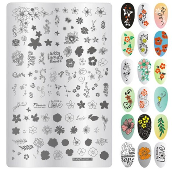 1pc rectangle nail stamping plate cartoon animal series character stamping plate diy manicure image template, White