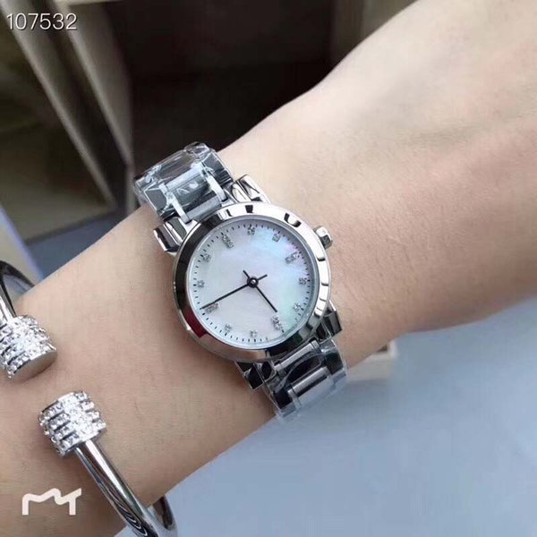 26MM Casual Quartz Elegant Womens Watch Watches Gentle and Quiet Ladies Wristwatches 316L Silver Stainless Steel Bracelet White Dial