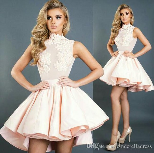 Baby Pink High Neck Ball Gown Homecoming Dresses Sleeveless Ruffles Skirts Bling Party Dress Short Prom Cocktail Gowns