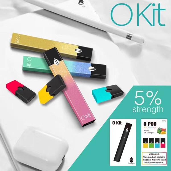 Kit O Kit 5% Système de distribution SaltNic 1.0ml Pods Kit de démarrage 280mAh Batterie intégrée Jetable Stylo à Vapeur Portable Vapeurs Périphérique