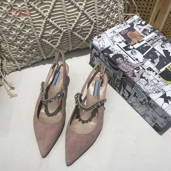 Best quality luxury fashion designer shoes pointed toes sandals with high heels party crystal decoration wedding shoes size 34-40