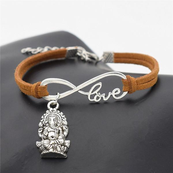 Chanceux tressé en cuir marron daim Wrap manchette Bracelet bracelets infini amour méditation éléphant religion Thaïlande Ganesha Bouddha Cuff Bijoux