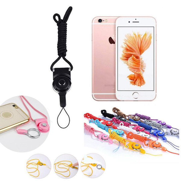 Rotatable Neck Strap Detachable Ring Lanyard hanging Charming Charms For Cell Phone MP3 MP4 Flash Drives ID Cards Cell phone Colorful 100pcs