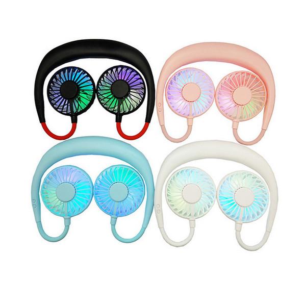Pequeno ventilador duplo cabeça levou luz wearable você usb cobrando aroma preguiçoso pescoço fã três gerações