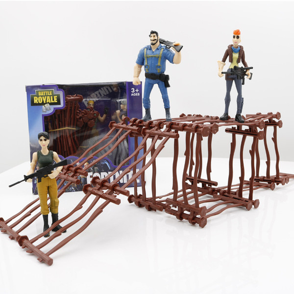 16pcs Fences And 2 Dolls/Box Fortnite Series Game props Fortress Night butt strap With Dolls DIY Toys Kid Gift Christmas gift