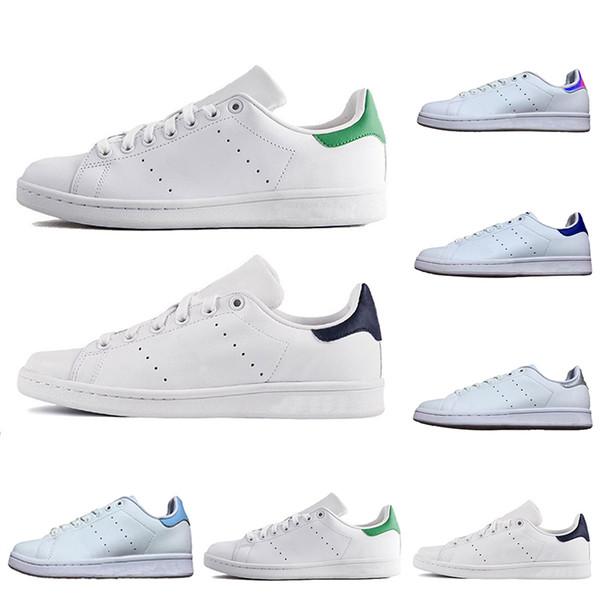 Orijinal Smith Erkek Kadın Casual Ayakkabı Atletik Yeşil Siyah Beyaz Mavi Kırmızı Pembe Gümüş erkek stan moda deri ayakkabı flats sneakers