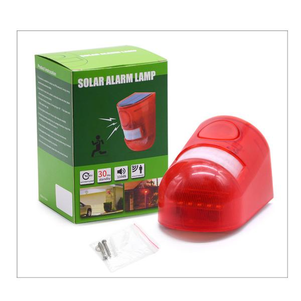 Upgraded Solar Alarm Siren 6LED Flashy Strobe Lights Motion Sensor Security Alarm System 110dB Loud Sound Flashing Light
