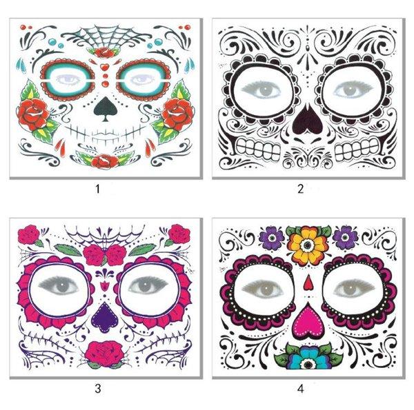 4styles Fiori di Halloween Adesivo per tatuaggio temporaneo Cicatrici Terrore Modello di Halloween Occhi Viso Adesivi per pasta autoadesivi impermeabili SN3487
