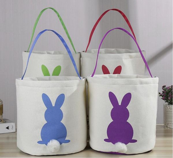 New Easter Rabbit Basket Easter Bunny Bags Rabbit Printed Canvas Tote Bag Egg Candies Baskets 4 Colors DHL ship